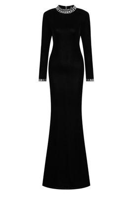 NSX Black Diamante Maxi Dress