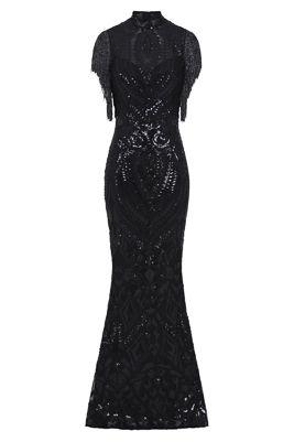 NSX Black Fringe Maxi Dress