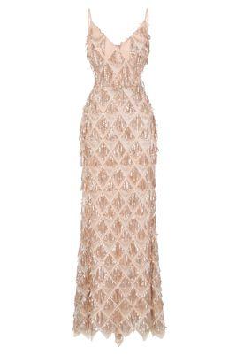 NSX Gold Nude Fringe Backless Maxi Dress
