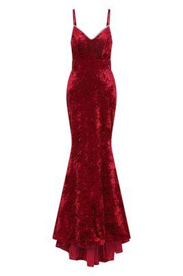 NSX Red Velvet Maxi Dress