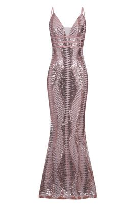 NSX Rose Gold Cage Sequin Maxi Dress
