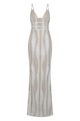 NSX white nude maxi dress