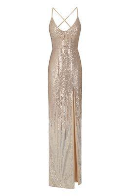 NSX Rose gold silver sequin slit maxi dress