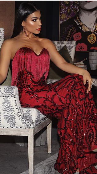 NSX Red Luxe Fringe Maxi Dress