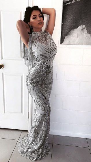 NSX Silver Fringe Maxi Dress