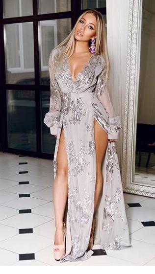 NSX Silver Sequin Long Sleeve Maxi Dress