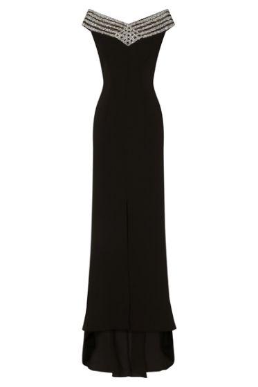 NSX Black Glitter Middle Slit Maxi Dress