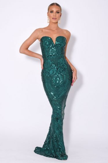 NSX Green Luxe Embellished Maxi Dress