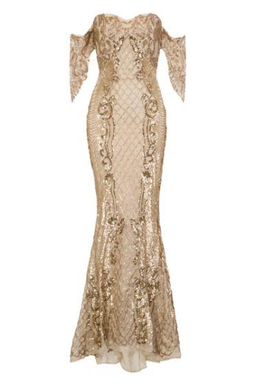 NSX Nude Gold VIP Mermaid Maxi Dress