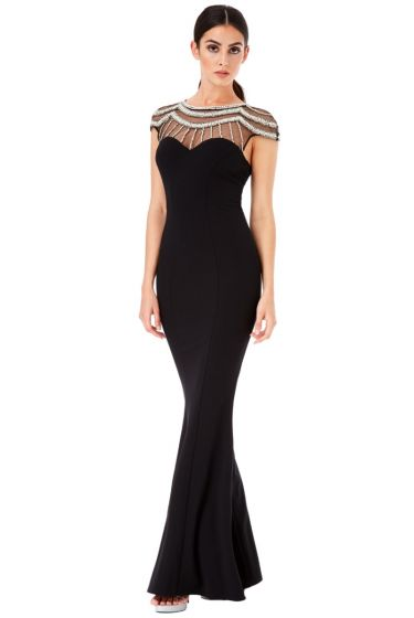 Black Rhinestone Maxi Dress