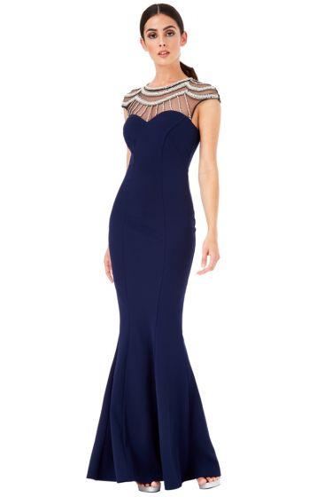 Navy Rhinestone Maxi Dress