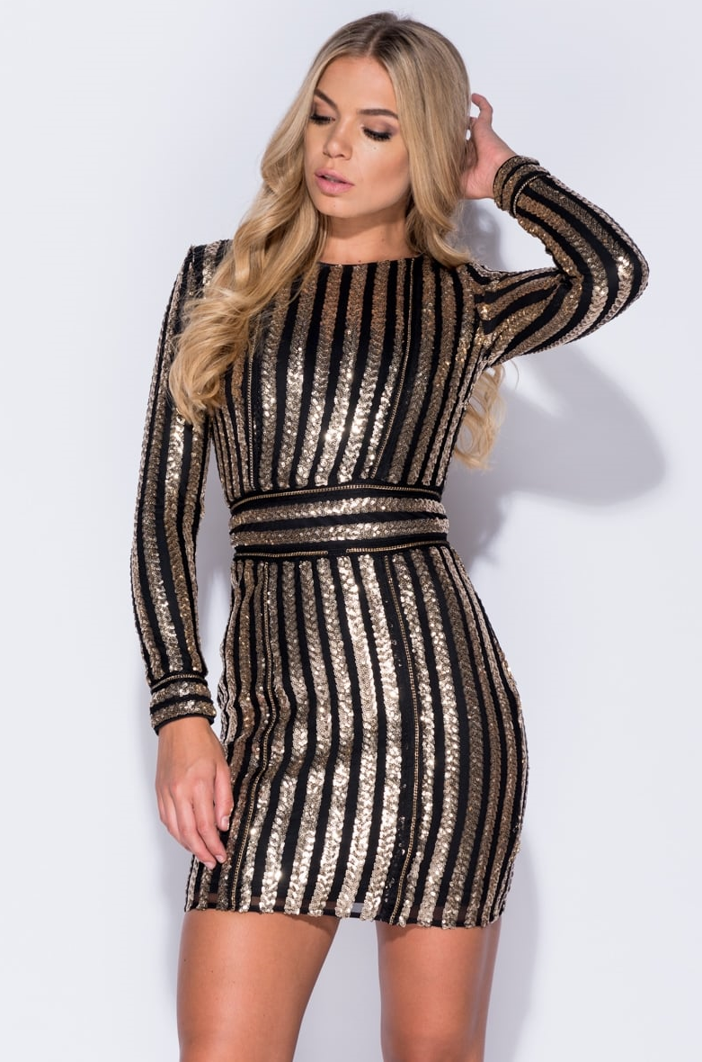 Black and gold bodycon dress up tops models