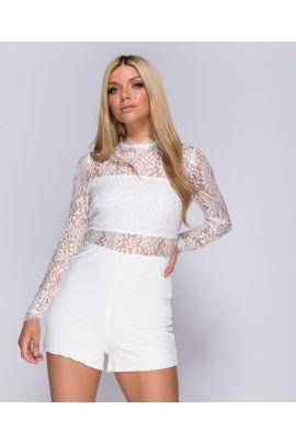 White Lace Sleeve Playsuit