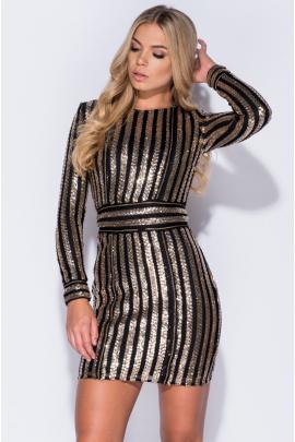 Black/Gold Sleeve Bodycon Dress