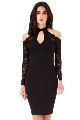 Black Lace Sleeves Midi Dress
