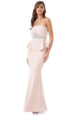 Dusty Pink Rhinestone Peplum Maxi Dress