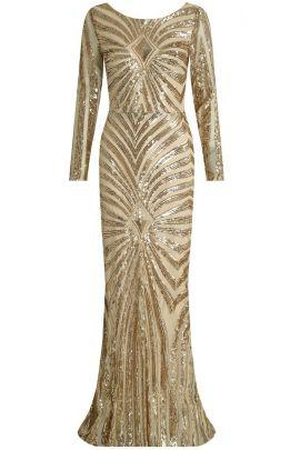 Gold Sequin Open Back Maxi Dress