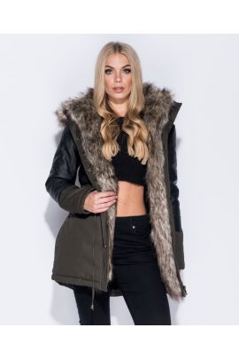 Khaki Leather Faux Fur Parka Jacket