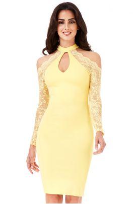 Lemon Lace Sleeves Midi Dress