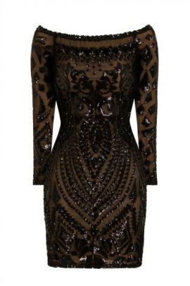 NSX Black Luxe Embellished Dress