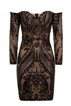 NSX Black Luxe Off Shoulder Midi Dress
