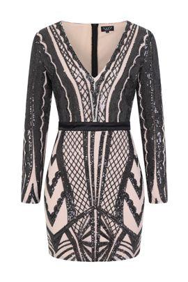 NSX black nude illusion bodycon dress