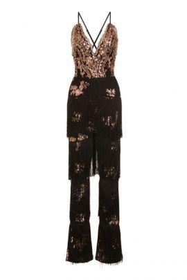 NSX Black Rose Gold Fringe Jumpsuit
