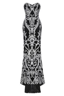 NSX Black Silver Fishtail Maxi Dress