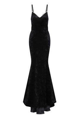NSX Black Velvet Maxi Dress