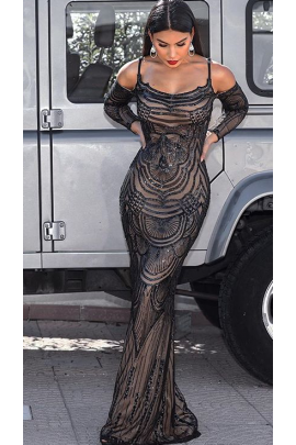 NSX Black VIP Mermaid Maxi Dress