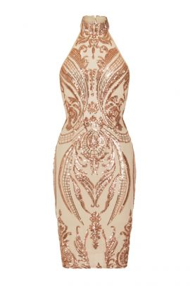 NSX Gold Luxe Embellished Backless Midi Dress