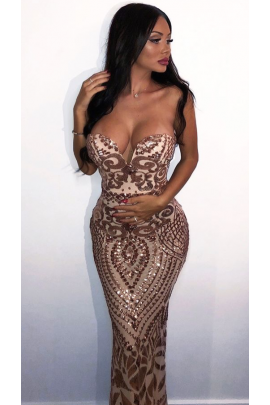 NSX Gold Luxe Embellished Fishtail Maxi Dress