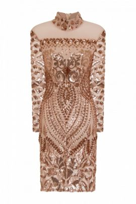 NSX Gold Luxe Embellished Midi Dress
