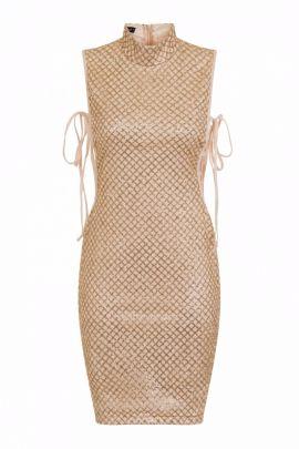 NSX Gold Tie Side Shimmer Dress
