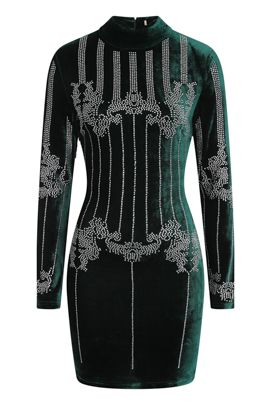 NSX Green Velvet Bodycon Dress