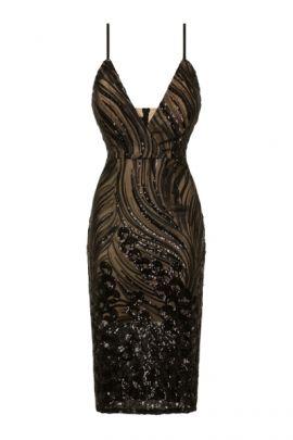 NSX Black Nude Luxe Midi Dress