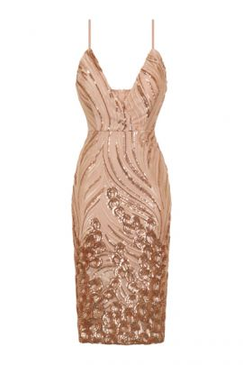 NSX Rose Gold Nude Luxe Midi Dress