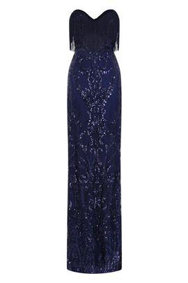 NSX Navy Luxe Fringe Maxi Dress