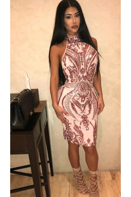 NSX Pink Luxe Embellished Backless Midi Dress