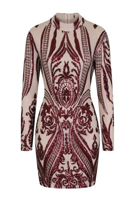 NSX Red Nude Bodycon Dress