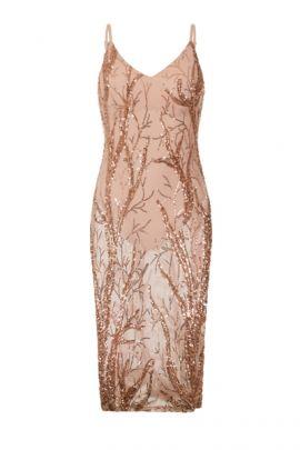 NSX Rose Gold Bodysuit Midi Dress