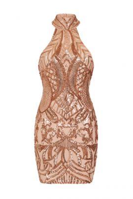 NSX Rose Gold Luxe Mini Bodycon Dress