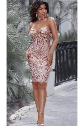 NSX Rose Gold Luxe Plunge Midi Dress