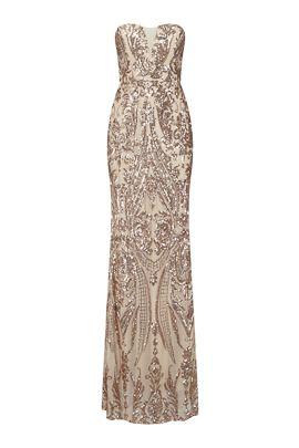 NSX Rose Gold Mesh Plunge Maxi Dress