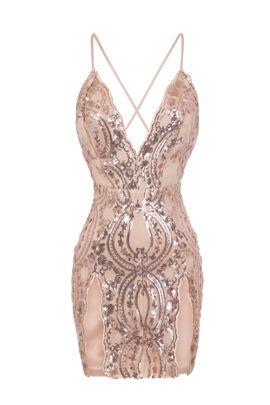 NSX Rose Gold Nude Double Slit Mini Dress
