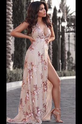 NSX Rose Gold Slit Maxi Dress