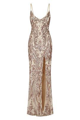 NSX Rose Gold VIP Slit Maxi Dress