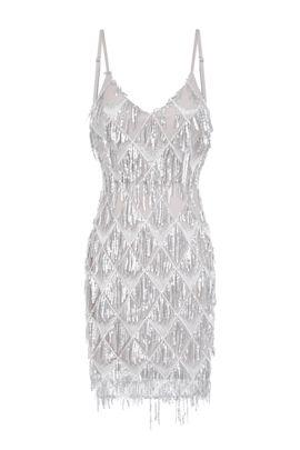 NSX Silver Fringe Backless Mini Dress