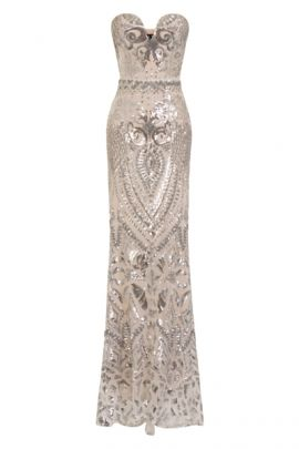 NSX Silver Luxe Embellished Maxi Dress