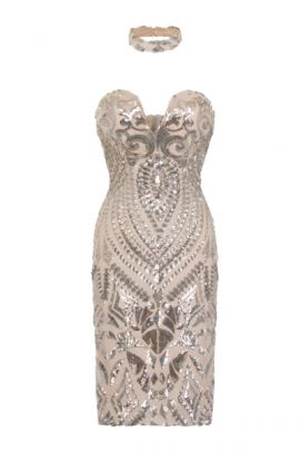 NSX Silver Luxe Plunge Midi Dress